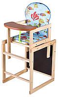 Детский стульчик-трансформер для кормления Наталка Зайчик-11 eko голубой (рыбки) (BR 622210), фото 1
