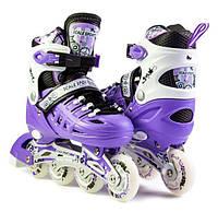 Роликовые Коньки Детские Раздвижные Scale Sports Фиолетовый размер 34-37 Светящиеся колеса (SD 1932601124-M), фото 1