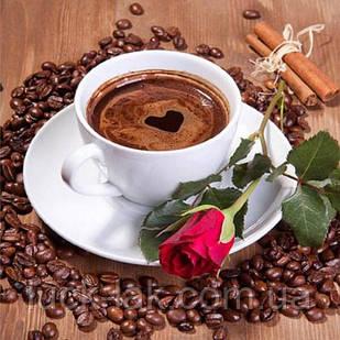 Алмазная вышивка чашка кофе и розочка 30х30 см, квадратные стразы, полная выкладка