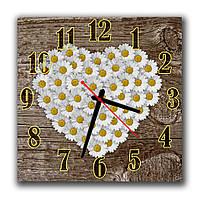 Оригинальные часы на кухню Ромашковое сердце, 30х30 см