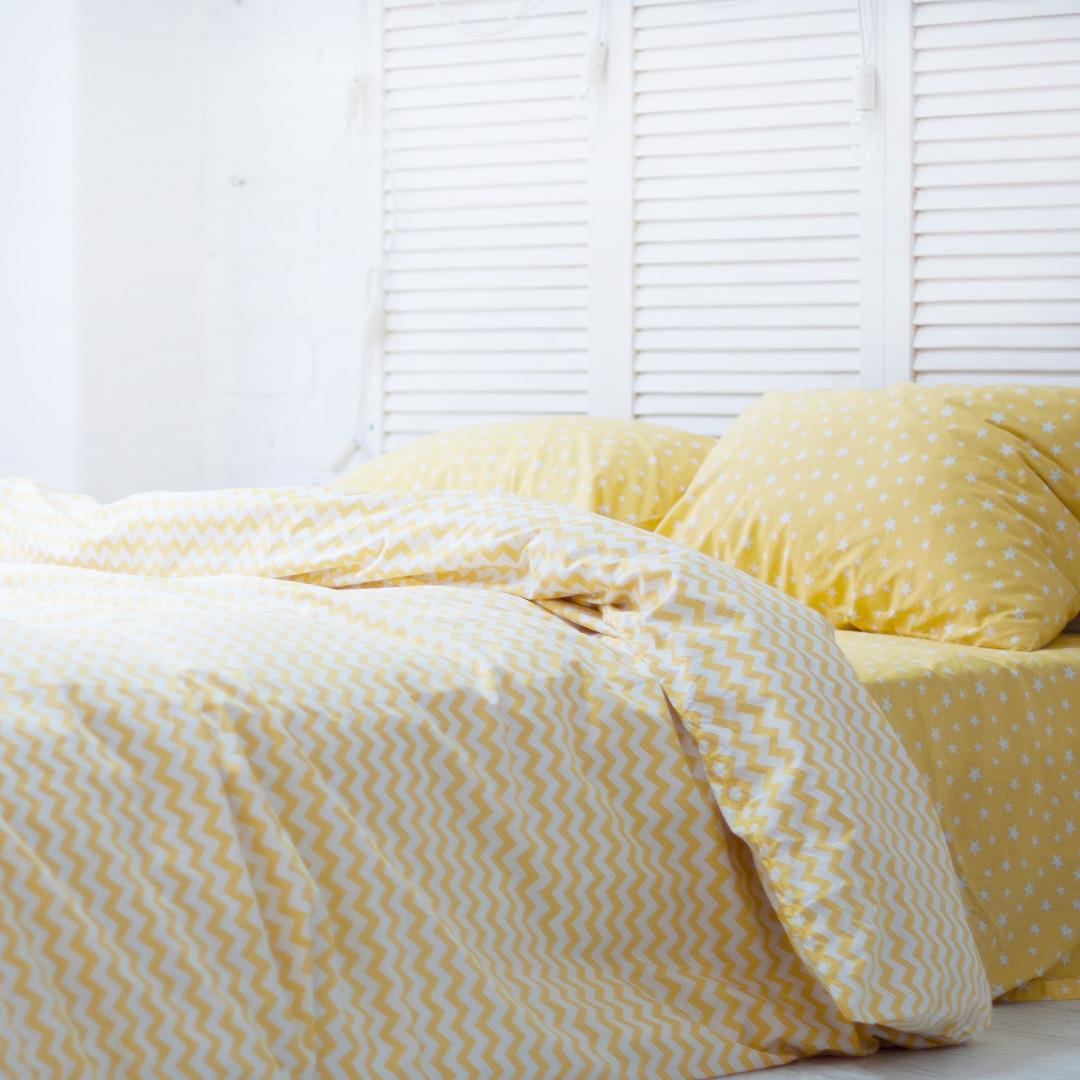 Комплект постельного белья 1.5 спальный Хлопок Люкс (PF058) с Простыней на Резинке для Евро-подушки