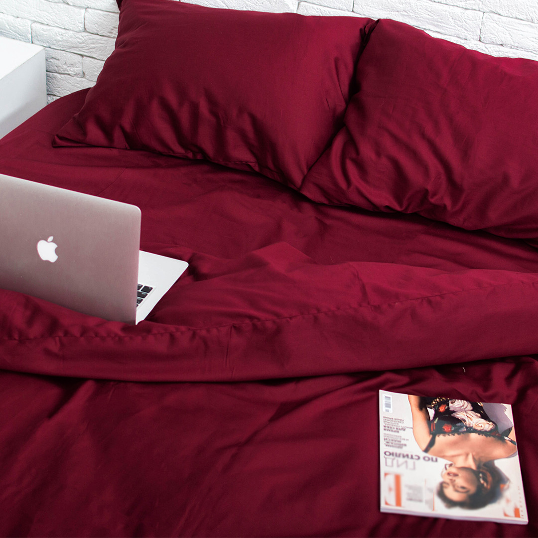 Комплект постільної білизни 1.5 спальний Сатин Люкс (SE002) з Простирадлом на Резинці для Стандартної подушки