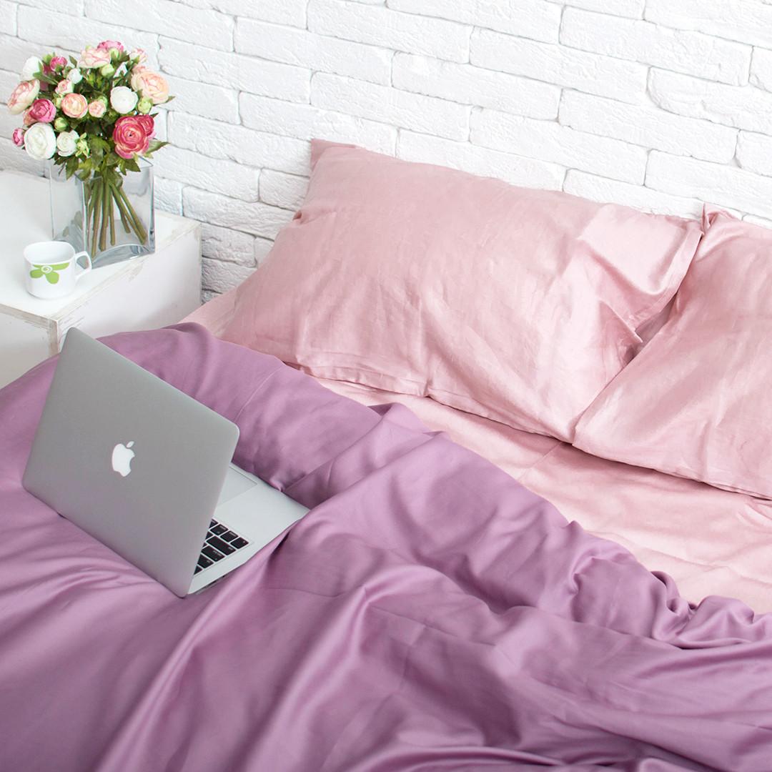 Комплект постельного белья 1.5 спальный Сатин Люкс (SE007) с Простыней на Резинке для Евро-подушки