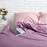 Комплект постельного белья 1.5 спальный Сатин Люкс (SE007) с Простыней на Резинке для Евро-подушки, фото 3