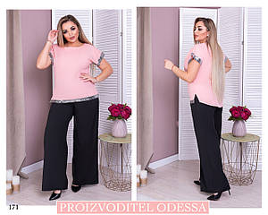 Костюм широкие брюки блуза короткий рукав супер софт 50-52,54-56,58-60