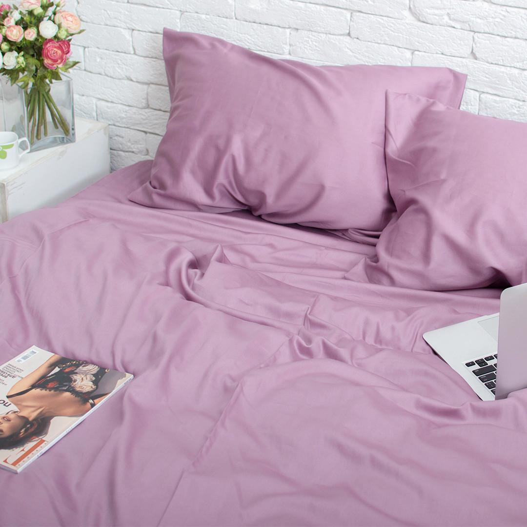 Комплект постельного белья 1.5 спальный Сатин Люкс (SE009) с Простыней на Резинке для Евро-подушки