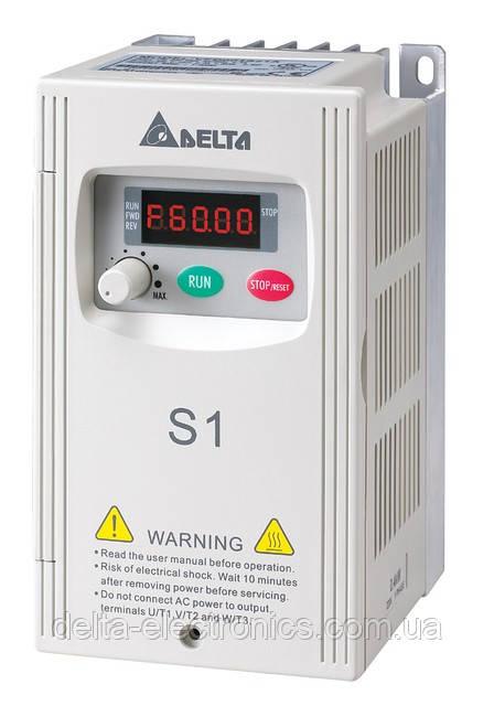Преобразователь частоты Delta Electronics, 0,75 кВт, 230В,1ф.,скалярный,VFD007S21A