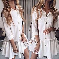 Платье весна-лето,мини,с заниженной талией,длинный рукав,3 цвета,42-44,44-46, белый, беж, чёрный