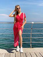 Платье на запах,миди,горошек,3 цвета,42-44,44-46, чёрный ; бежевый и красный