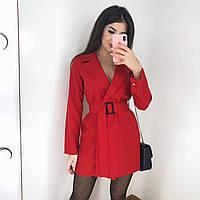 Платье-пиджак,мини,с поясом,длинный рукав,на запах,42-44,44-46,4 цвета, чёрный, беж, красный и бутылка