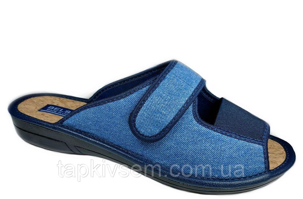 Тапки женские Белста на липучке стелька пробка (синие) 39 размер