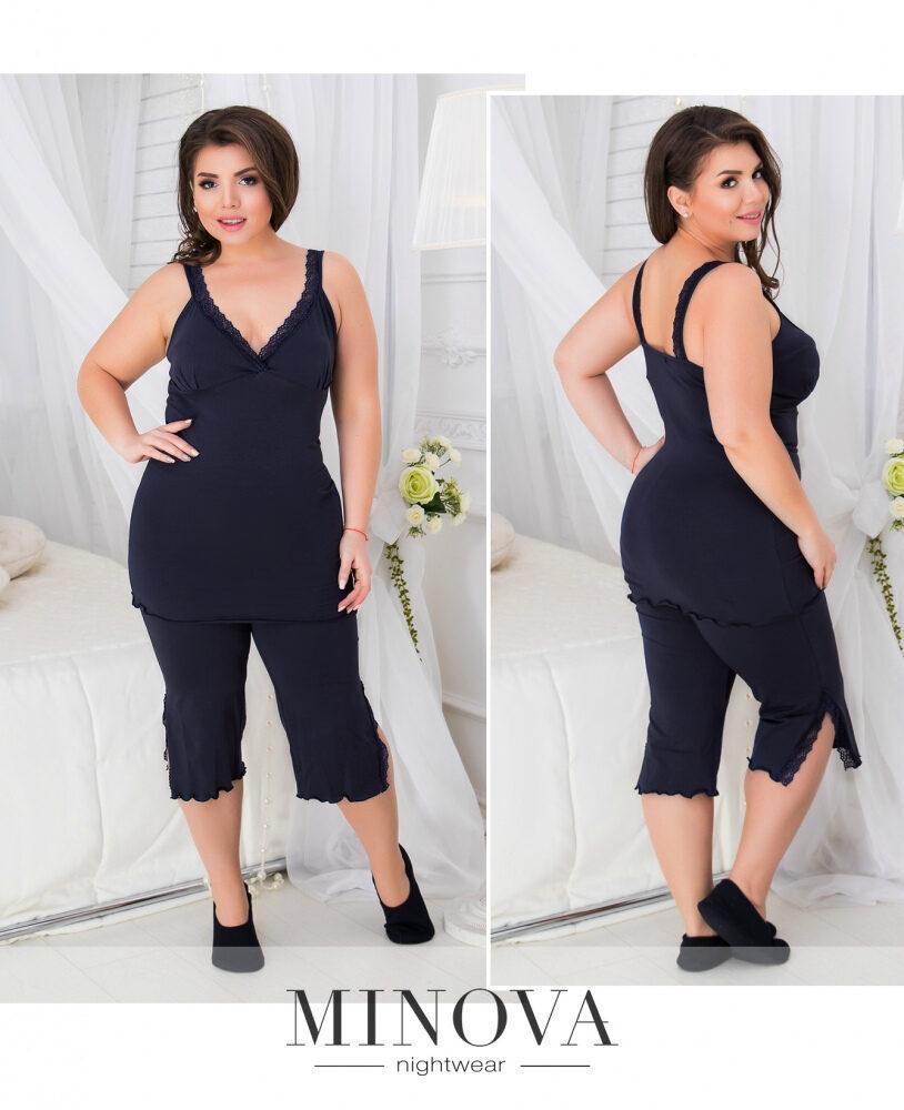 """Восхитительный женский пижамный комплект, ткань """"Турецкий трикотаж"""" Темно-синий 48, 50 размер 48"""