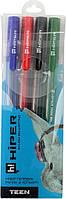 "Набір ручок гел. ""Hiper Teen Gel"" №HG-125/4 0,6мм 4шт(синя,чорна,червона,зелена)(30)"