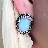 Сережки зі срібла з великим Місячним каменем Марсель, фото 1