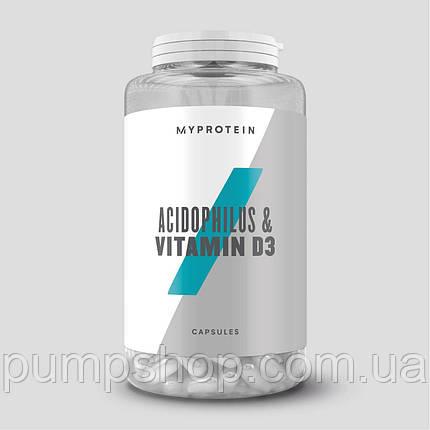 Ацидофильные лактобактерии + Витамин D3 Myprotein Acidophilus & Vitamin D3 90 капс., фото 2