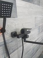 Смеситель чёрный для ванны Mixxus Kub 006 euro Black