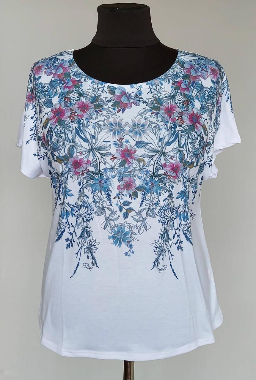 Женская футболка белого цвета «Natalia» (с 50 по 60 р)