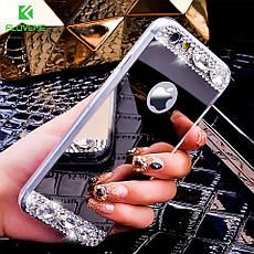 Силиконовый чехол для Apple iPhone X Gold с камнями, фото 2