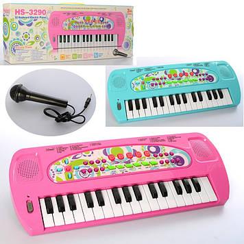 Синтезатор 32 клавіши,на бат-ці,40см,8 тонів,запис,8 інстр.,мікрофон,в кор-ці№HS3290AB(48)