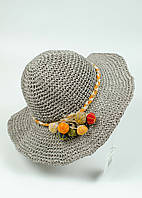 Шляпа женская пляжная широкополая серая