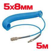 Шланг спиральный полиуретан. 5х8мм, 5 м.