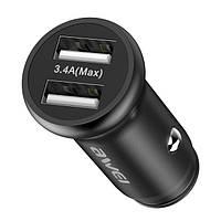 Автомобильное зарядное устройство Awei C-838 c кабелем MicroUSB (2USB, 3.4А) Black