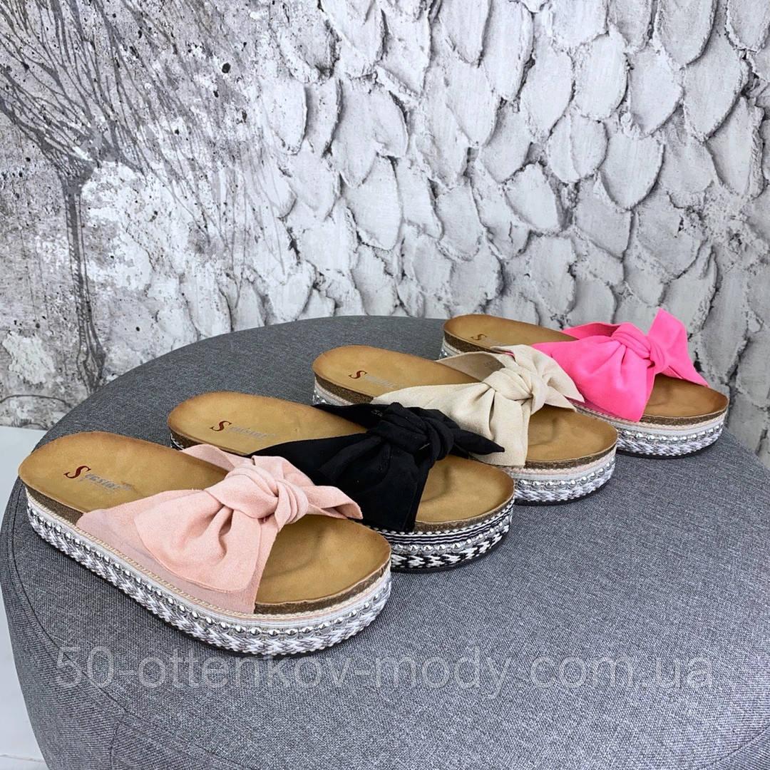 Женские шлепанцы с бантом с декорированной подошвой, пудра, черные, розовые, бежевые