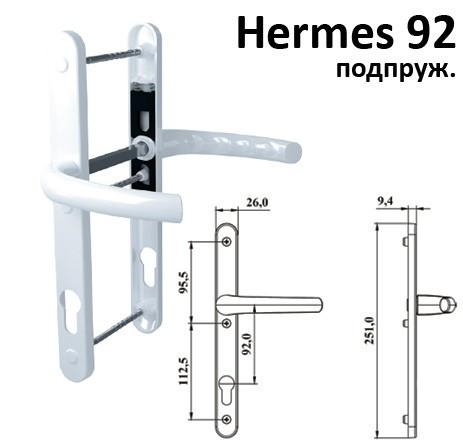 """Украина ТД / Дверная ручка нажимной гарнитур """"Hermes"""" 92, подпруж. белый"""