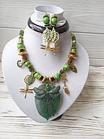 Зеленый дизайнерский набор украшений колье и серьги Стрекоза из натурального нефрита и  хризолита