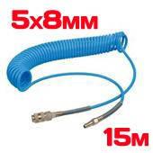 Шланг спиральный полиуретан. 5х8мм  15м