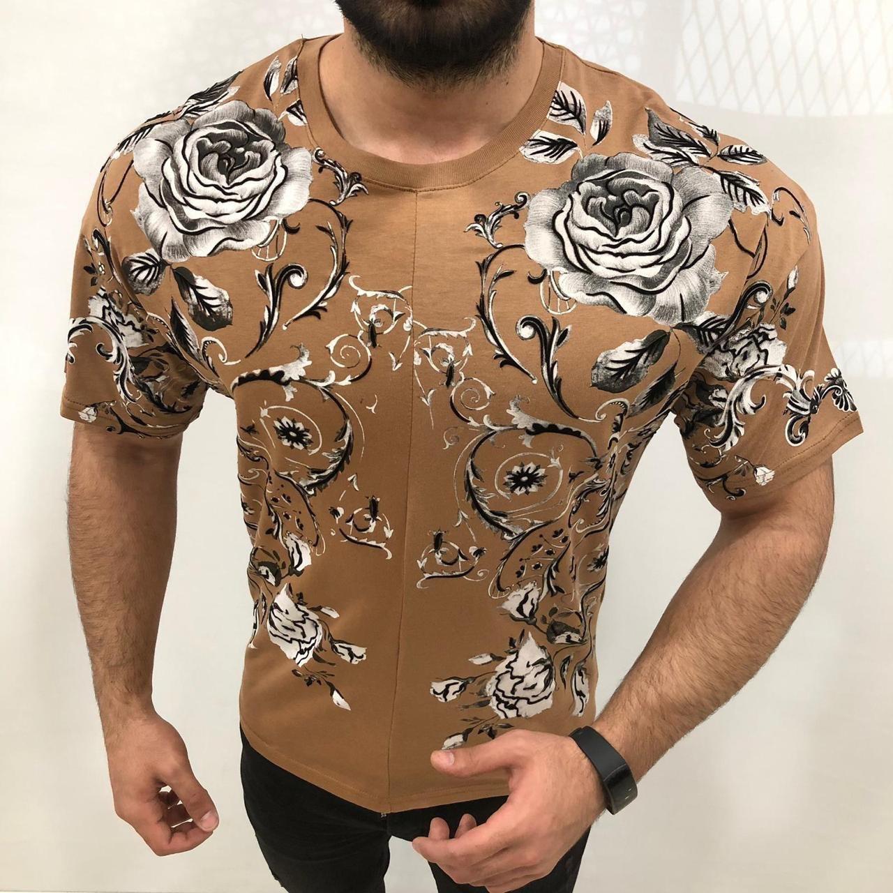 😜 Футболка - Мужская футболка  бежевая с розами (контуры велюр)