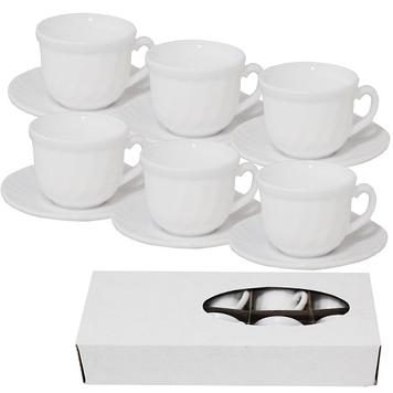 """Набір чайний керам. 12предм. (6чаш. 190мл+6бл. 14см) """"Білий"""" 7' №30084-00/S&T/12)(72)"""