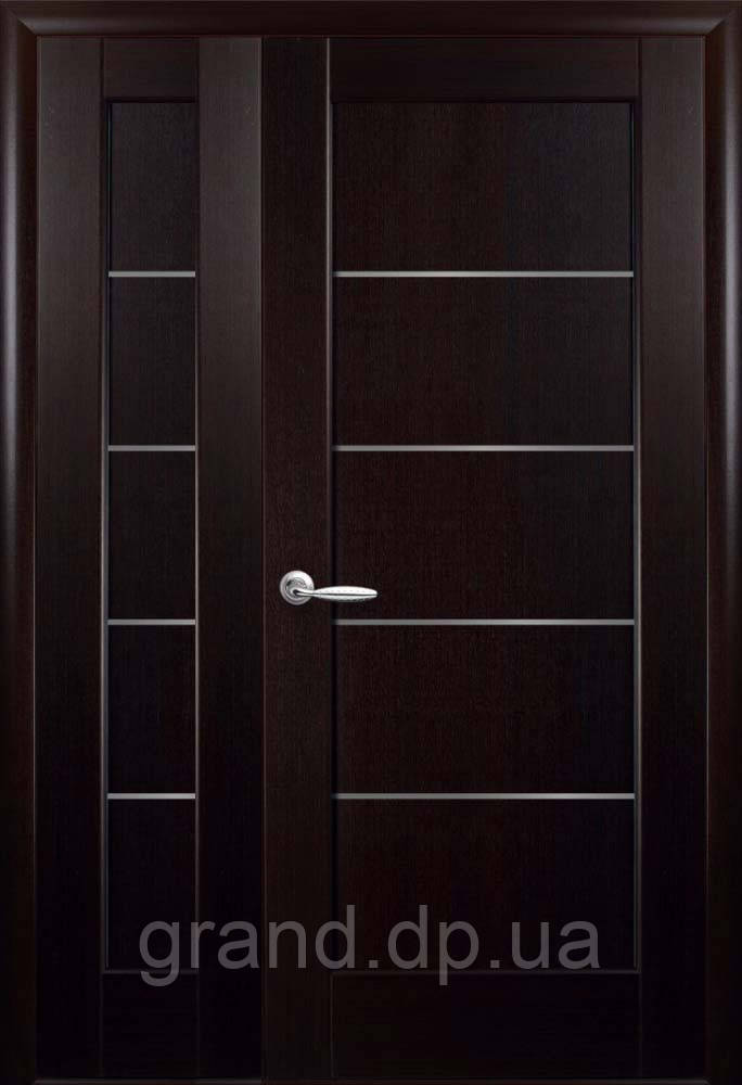 Полуторные двери  Мира ПВХ Deluxe Новый стиль, цвет венге new