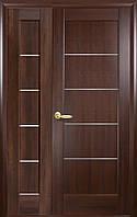 Полуторные двери  Мира ПВХ Deluxe Новый стиль, цвет каштан