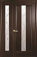 Полуторные двери Премьера ПВХ Deluxe Новый стиль, цвет каштан