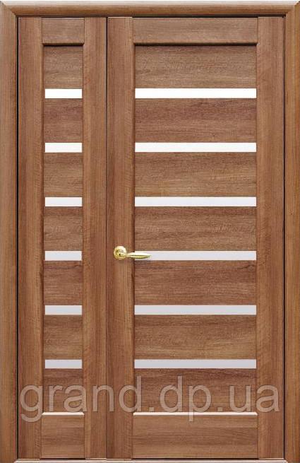 Межкомнатные двухстворчатые двери Новый Стиль  Линнея ПВХ Deluxe цвет золотая ольха
