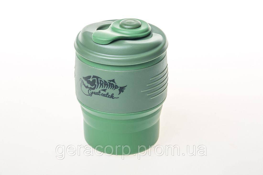 Кружка складная силиконовая Tramp с крышкой 350ml oliva