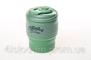 Кружка складная силиконовая Tramp с крышкой 350ml oliva, фото 2