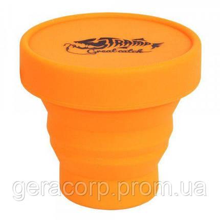 Стакан складной силиконовый с крышкой Tramp 180ml orange, фото 2
