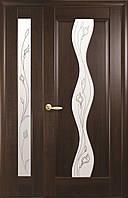 Полуторні двері ПВХ Хвиля Deluxe Новий стиль, колір каштан
