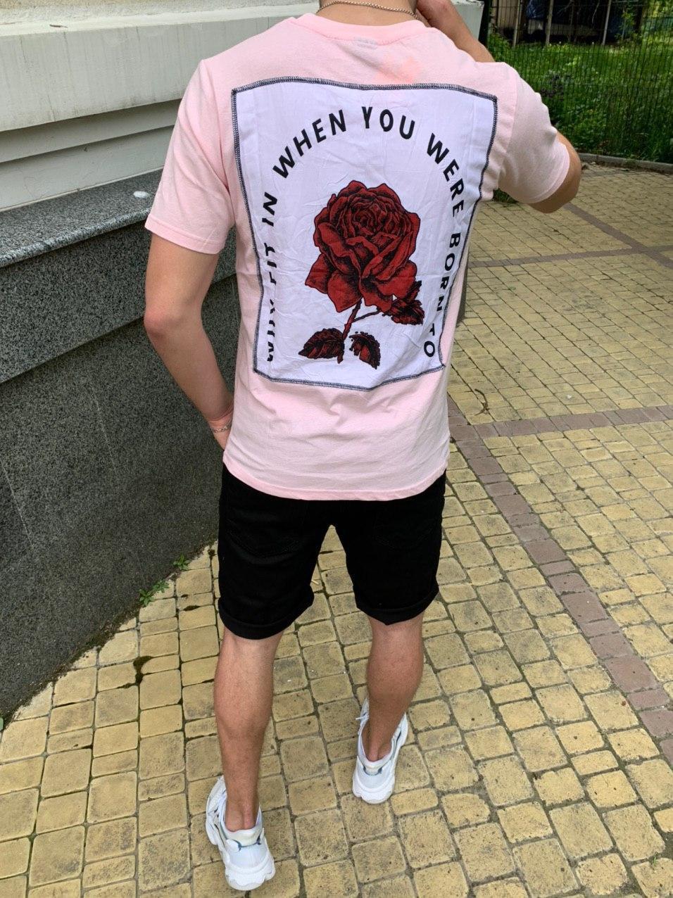 😜 Футболка - Мужская розовая футболка с розой на спине