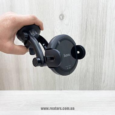 Автомобильный держатель для телефона + беспроводная зарядка Hoco CA35Plus (Black), фото 3