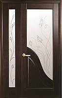 Полуторные двери  Амата ПВХ Deluxe Новый стиль, цвет каштан