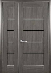 Полуторные двери  Мира ПВХ Deluxe Новый стиль, цвет грей с черным стеклом