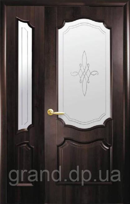 Полуторные двери Рока ПВХ Deluxe Новый стиль, цвет венге