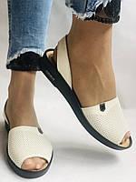 Модні босоніжки, білі на низькій платформі.Натуральна шкіра. Магазин .38.40 Vellena, фото 2