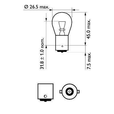 Audi 80 Автомобильная лампа: 12 [В] (к-кт 2 шт) P21W VisionPlus 21W цоколь BA15s Blister +60% света PHILIPS PHI 12498VPB2, фото 2
