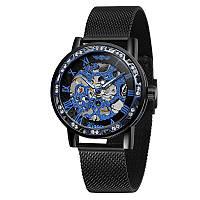 Часы мужские Winner Diamonds mesh W0905 Черный с голубым (4233-12856)