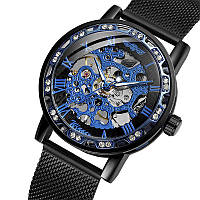 Годинники чоловічі Winner Diamonds mesh W0905 Чорний з блакитним (4233-12856)