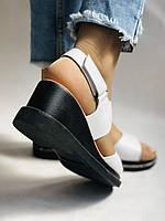 Модные босоножки, белые на невысокой платформе.Натуральная кожа. Размер 37.Турция. Магазин Vellena, фото 10